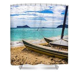 Catamaran On Waimanalo Beach Shower Curtain