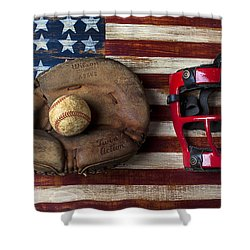 Catchers Glove On American Flag Shower Curtain by Garry Gay