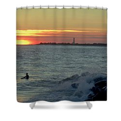 Catching A Wave At Sunset Shower Curtain by Ed Sweeney