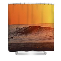 Catching A Wave At Sunset Shower Curtain by Vince Cavataio - Printscapes
