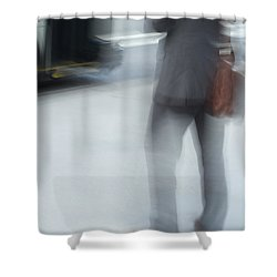 Catching The Bus Shower Curtain by Karol Livote