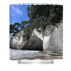Cathedral Cove Shower Curtain by Christian Zesewitz