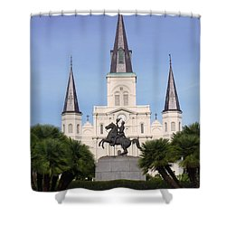 Shower Curtain featuring the photograph Cathedral In Jackson Square by Alys Caviness-Gober
