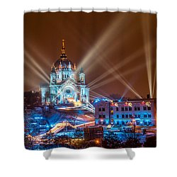 Cathedral Of St Paul Ready For Red Bull Crashed Ice Shower Curtain by Paul Freidlund