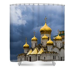 Cathedral Of The Annunciation Of Moscow Kremlin - Square Shower Curtain by Alexander Senin