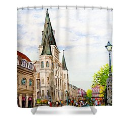 Cathedral Plaza - Jackson Square, French Quarter Shower Curtain
