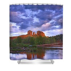 Cathedral Rock And Oak Creek At Red Shower Curtain by Tim Fitzharris