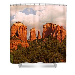 Cathedral Rock Sunset Shower Curtain by Bob and Nadine Johnston