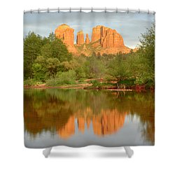 Shower Curtain featuring the photograph Cathedral Rocks Reflection by Alan Vance Ley