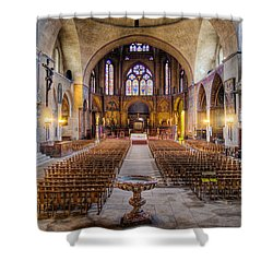 Shower Curtain featuring the photograph Cathedrale Saint-etienne Interior / Cahors by Barry O Carroll