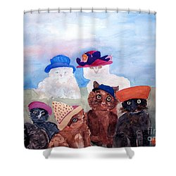 Cats In Hats Shower Curtain