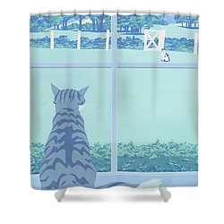 Abstract Cats Staring Stylized Retro Pop Art Nouveau 1980s Green Landscape Scene Painting Print Shower Curtain