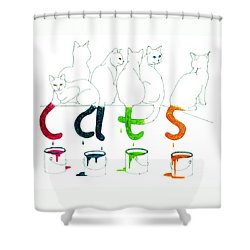 Cats With Paint Cans Shower Curtain