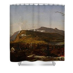 Catskill Mountain House Shower Curtain by Jasper Francis Cropsey
