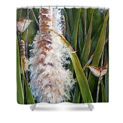 Cattails And Wrens Shower Curtain