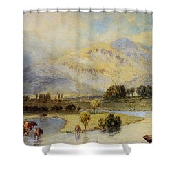 Cattle Watering Shower Curtain by Myles Birket Foster