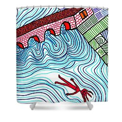 Caught In The Current Shower Curtain by Sarah Loft