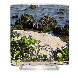 Causeway Shore Blues Shower Curtain by Ecinja