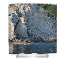 Shower Curtain featuring the photograph Cave By The Sea by George Katechis
