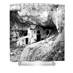 Shower Curtain featuring the photograph cave church on Mt Olympus Greece by Nina Ficur Feenan