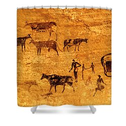 Cave Painting South Algeria Shower Curtain by George Holton