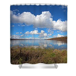 Shower Curtain featuring the photograph Cayuga Lake In Colorful Fall Ithaca New York II by Paul Ge