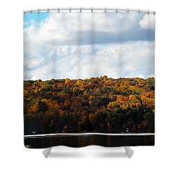 Shower Curtain featuring the photograph Cayuga Lake In Colorful Fall Ithaca New York  by Paul Ge