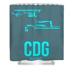 Cdg Paris Airport Poster 1 Shower Curtain by Naxart Studio