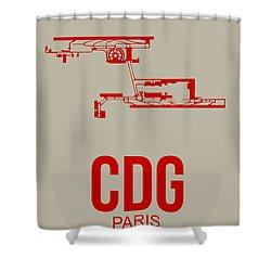 Cdg Paris Airport Poster 2 Shower Curtain by Naxart Studio