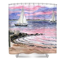Cedar Beach Pinks Shower Curtain by Clara Sue Beym
