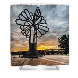Cedar Rapids Five Seasons Tree At Sunset Shower Curtain