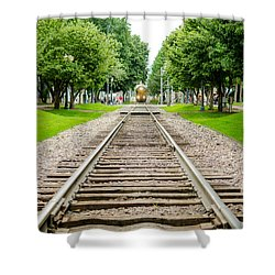Cedar Rapids Train Coming Down The Tracks Shower Curtain
