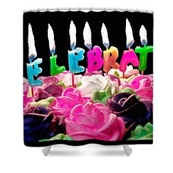 Shower Curtain featuring the photograph Cake Topped With Flowers And Celebrate Candles by Vizual Studio