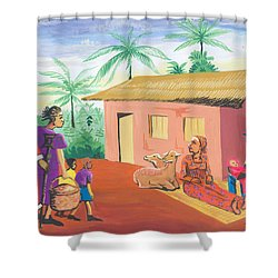 Celebration Of The Nativity In Cameroon Shower Curtain by Emmanuel Baliyanga