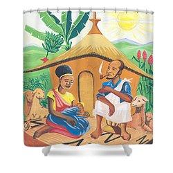 Celebration Of The Nativity In Rwanda Shower Curtain by Emmanuel Baliyanga