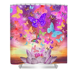 Celestial Butterfly Shower Curtain by Alixandra Mullins