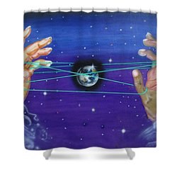 Shower Curtain featuring the painting Celestial Cats Cradle by Thomas J Herring