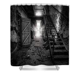 Cell Block - Historic Ruins - Penitentiary - Gary Heller Shower Curtain by Gary Heller