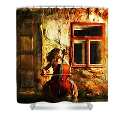 Cellist By Night Shower Curtain