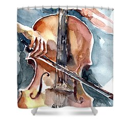 Shower Curtain featuring the painting Cellist by Faruk Koksal