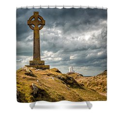 Celtic Cross At Llanddwyn Island Shower Curtain by Adrian Evans