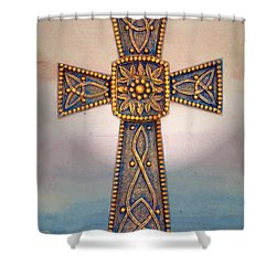 Celtic Cross Sunrise Shower Curtain by Sandi OReilly