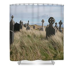 Shower Curtain featuring the photograph Celtic Crosses Aran Island Cemetary by Melinda Saminski