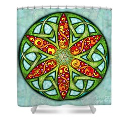Shower Curtain featuring the mixed media Celtic Summer Mandala by Kristen Fox