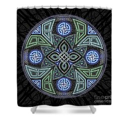 Shower Curtain featuring the mixed media Celtic Ufo Mandala by Kristen Fox