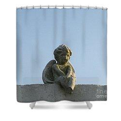 Shower Curtain featuring the photograph Cemetery Cherub by Joseph Baril