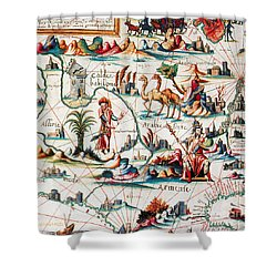 Central Asia Pierre Descelierss Map Shower Curtain by Photo Researchers