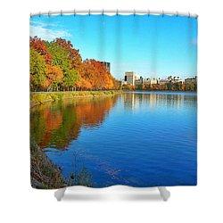 Central Park Autumn Landscape Shower Curtain