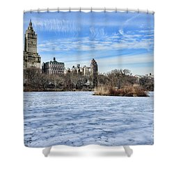 Central Park Lake Looking West Shower Curtain by Paul Ward