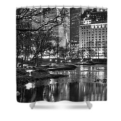 Central Park Lake Night Shower Curtain